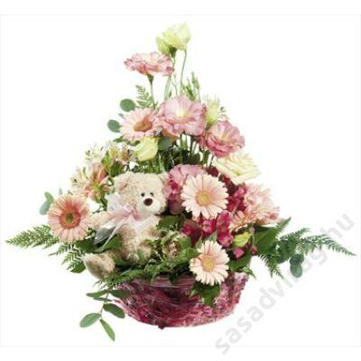 Virágkosár kislány születésére
