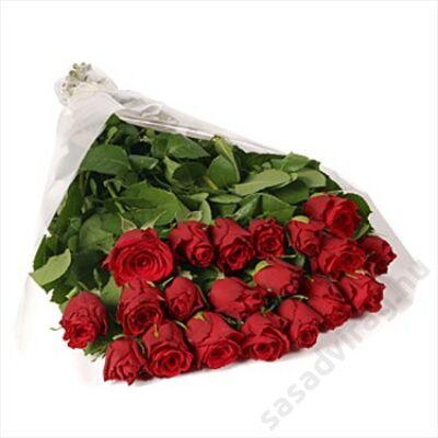 20 szál vörös rózsa kötegben
