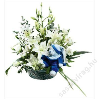 Virágkosár kisfiú születésére