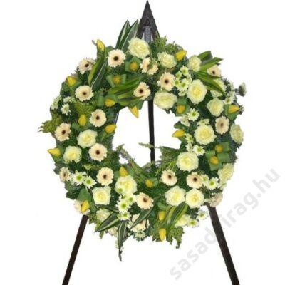 Koszorú pasztell virágokból