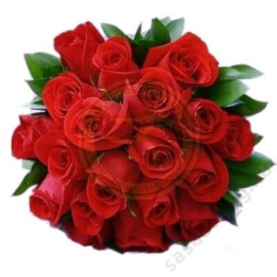 25 szál rövid vörös rózsa