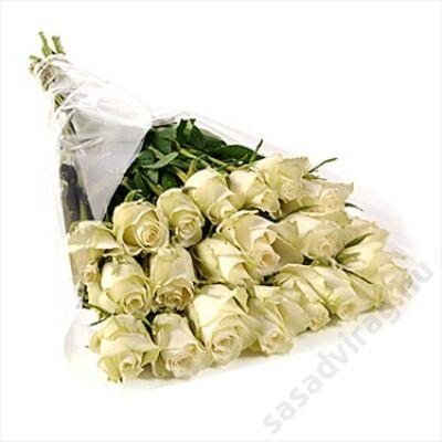 20 szál fehér rózsa kötegben
